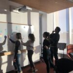 Sustainability intern planning session--at the whiteboard.